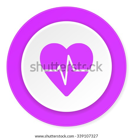 pulse violet pink circle 3d modern flat design icon on white background  - stock photo