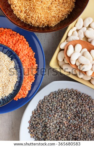 Pulses.  A selection of dried beans, peas and rice - stock photo