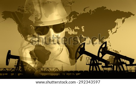 Pump jack group, global map, worker in a oil industry background. Double exposure. Toned sepia. - stock photo