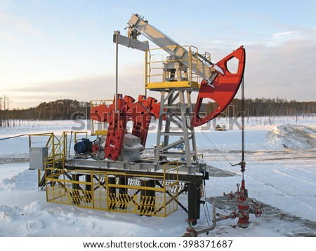 Pump jack. Oil and gas - stock photo