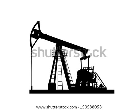 pump jack silhouette isolated on white background - stock photo