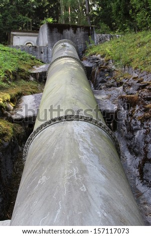 Pumping pipe for hydro power - stock photo