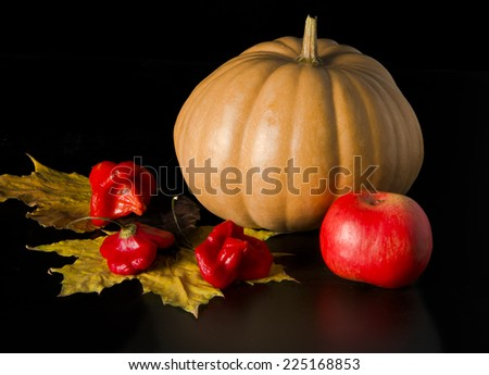 pumpkin and apple with autumn leaves on dark background - stock photo