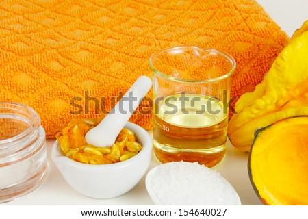Pumpkin as a beauty product - stock photo