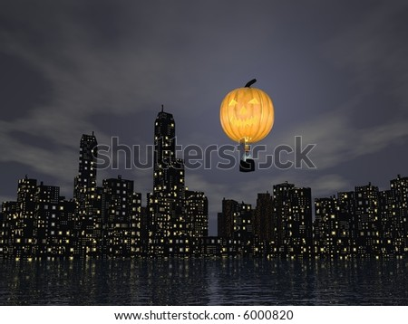 pumpkin balloon with ghosts (3D Halloween poster) - stock photo