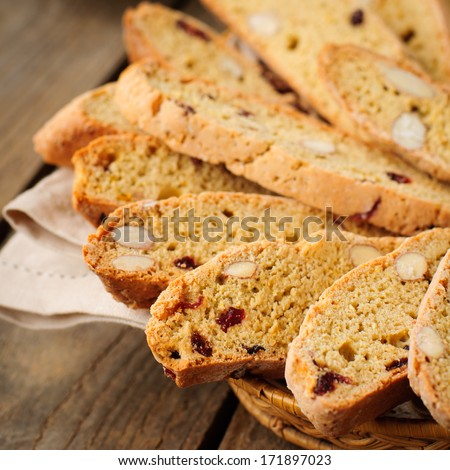 Pumpkin Biscotti with Almonds and Dried Cherries, square, copy space for your text - stock photo