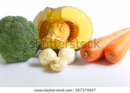 Pumpkin , Broccoli , Carrot and Mushroom isolate on white background. - stock photo