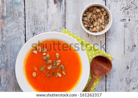 Pumpkin cream soup - stock photo