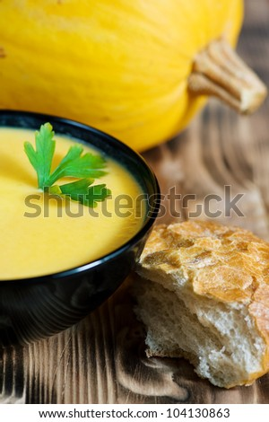 Pumpkin creamy soup - stock photo