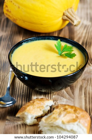 Pumpkin creamy soup and pumpkin - stock photo