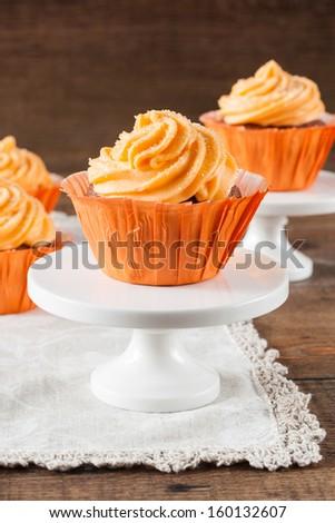 Pumpkin Cupcakes - stock photo