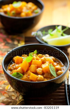 Pumpkin curry with chick-peas - stock photo