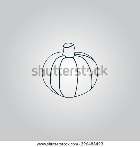 Pumpkin. Flat web icon or sign isolated on grey background. Collection modern trend concept design style  illustration symbol - stock photo