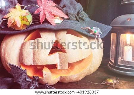 pumpkin halloween holiday spirits - stock photo