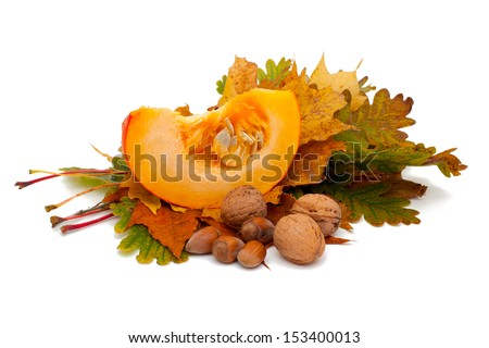 pumpkin, nuts and leafs - stock photo