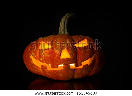 pumpkin on black background, concept  religious  feast  Halloween - stock photo