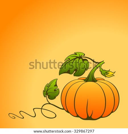 Pumpkin on orange background with space for text. - stock photo