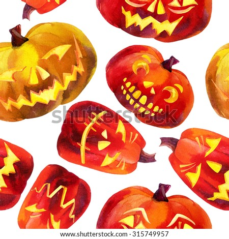 Pumpkin seamless pattern. Watercolor carved pumpkins. Jack-o'-lanterns background. Hand drawn illustration.  - stock photo