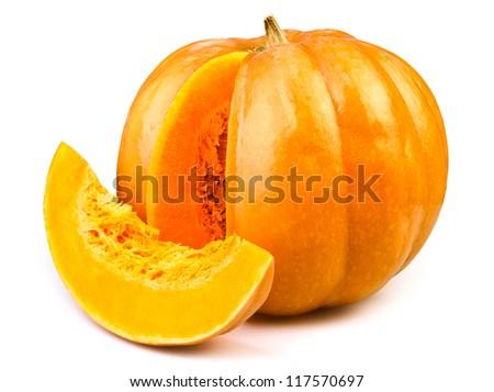 pumpkin slice isolated - stock photo