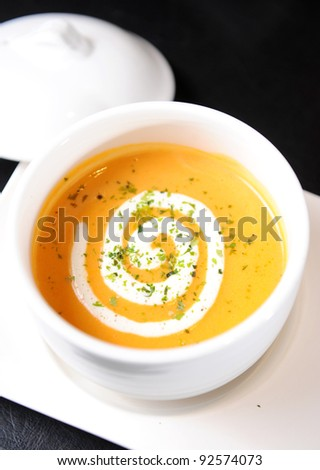 Pumpkin soup - stock photo