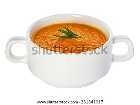 Pumpkin soup isolated on white background - stock photo