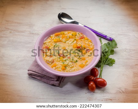 pumpkin soup with barley - stock photo