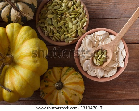 pumpkin with seeds - stock photo