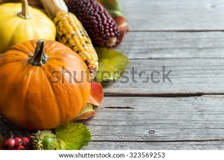 Pumpkins, acorns, leaves and berries on wooden background - stock photo