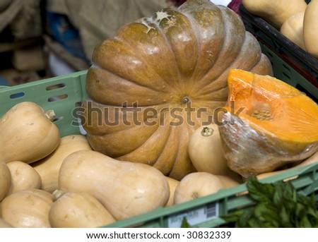 pumpkins. Borough market - stock photo