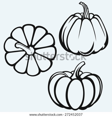 Pumpkins isolated on blue background. Raster version - stock photo