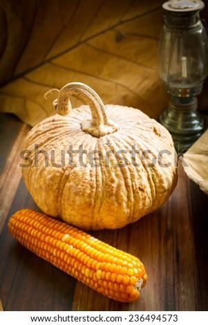 pumpkins leaves and a corns Autumn scene .vintage stiled - stock photo