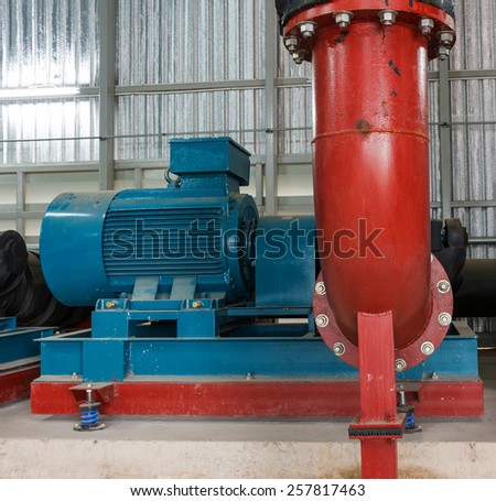 pumps and steel pipe Sewage system. - stock photo