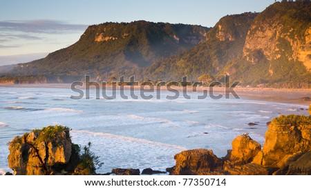Punakaiki Beach, West Coast, South Island, New Zealand - stock photo