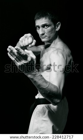 punch.figure in the karate fighting stance on a black background.hand-to-hand fighting. Black-and-white image - stock photo