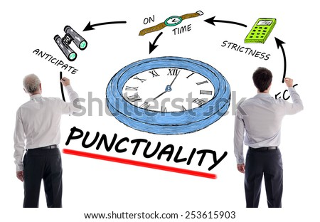 Punctuality concept with two businessmen - stock photo