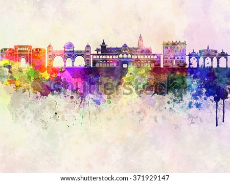 Pune skyline in watercolor background - stock photo