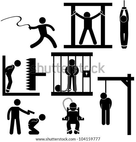 Punishment Torture Justice Death Sentence Execution Icon Symbol Sign Pictogram - stock photo