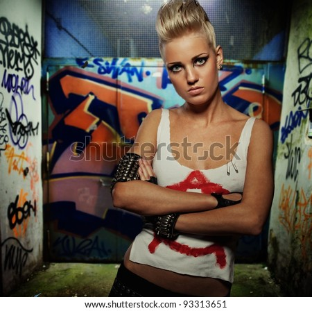 Punk girl outdoors - stock photo