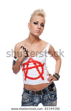 Punk girl with a brass knuckle. - stock photo