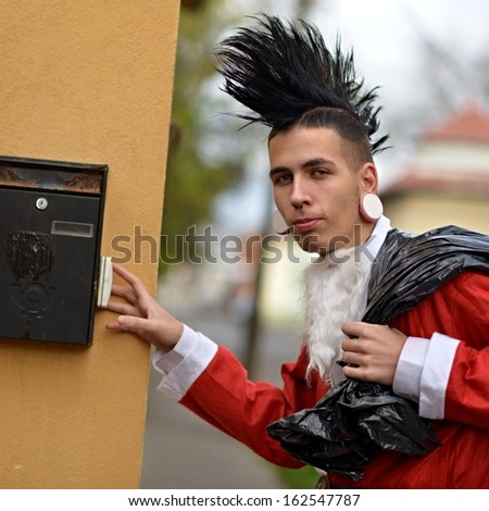 Punk Santa - stock photo