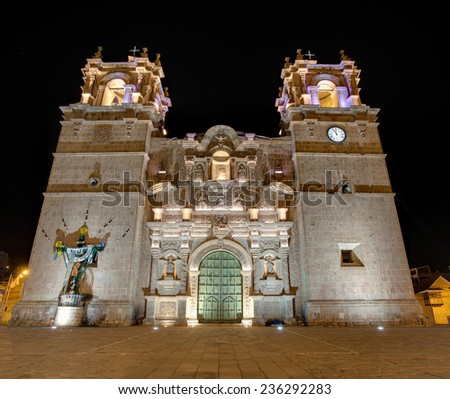 PUNO, PERU: Cathedral church of Puno city. Build in 1757. - stock photo