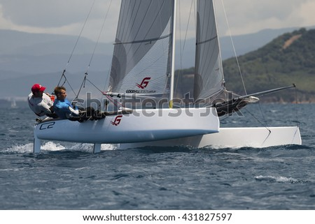 PUNTA ALA - 3 JUNE: second day of competition on Formula 18 national catamaran race, on June 3 2016 in Punta Ala, Italy - stock photo