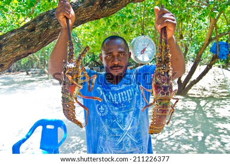 PUNTA CANA, DOMINICAN REPUBLIC - AUGUST 5.2014 , Traditional preparing of lobsters in the beach kitchen outside in punta cana dominican republic - stock photo