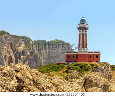 Punta Carena lighthouse on the Island of Capri in Italy. - stock photo