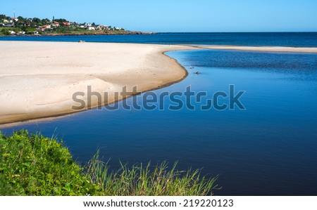 Punta Colorada Beach near the town of Piriapolis in the Uruguay Coast - stock photo