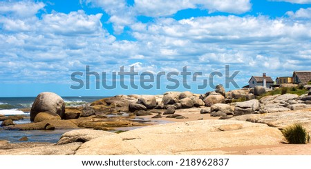 Punta del Diablo Beach, popular tourist place in Uruguay - stock photo
