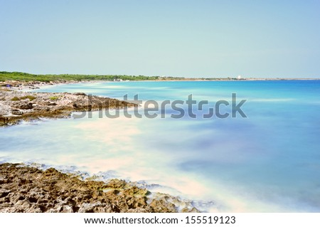 Punta della Suina's beach near Gallipoli's town in Salento. Apulia. Italy. - stock photo