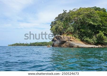 Punta Uva in Costa Rica on the Caribbean coast near Puerto Viejo de Talamanca, Central America - stock photo
