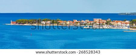 Puntamiika peninsula of Zadar aerial panorama, Dalmatia, Croatia - stock photo