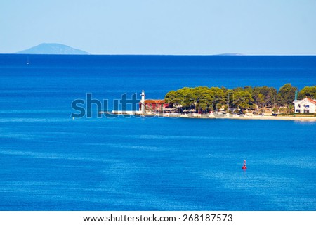 Puntamika lighthouse of Zadar aerial view, Dalmatia, Croatia - stock photo